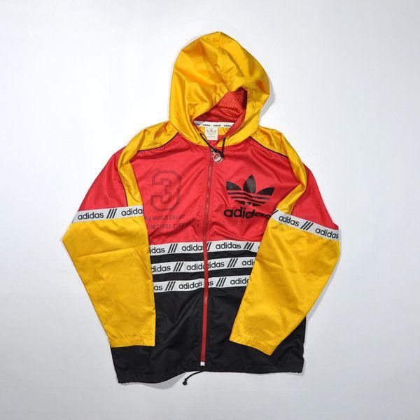 37815d393 Rare Vintage ADIDAS Windbreaker Jacket ADIDAS Color Block Multi Color... ❤  liked on Polyvore featuring adidas
