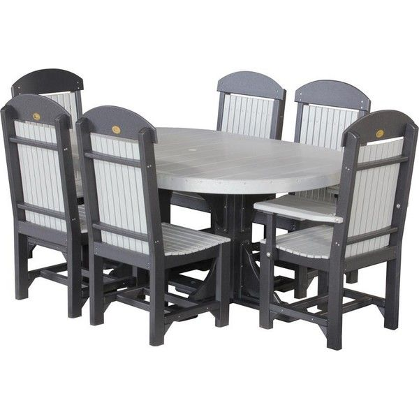 Charming Amish LuxCraft Poly Wood Captain Chair Oval Dining Set ($2,785) ❤ Liked On  Polyvore Featuring Home, Outdoors, Patio Furniture, Outdoor Patio Sets, ...