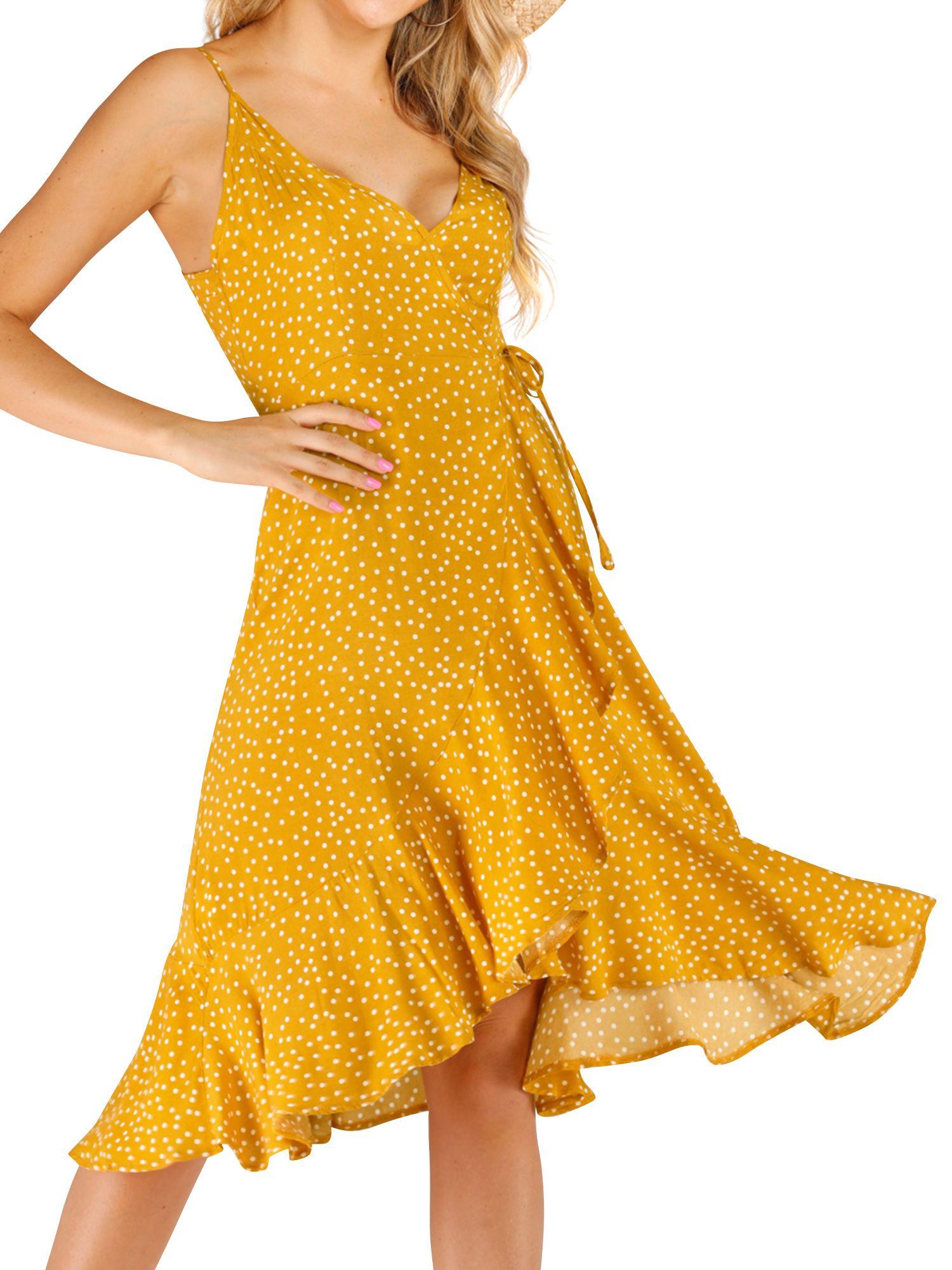 Nlife Women V Neck Polka Dots Ruffle Tie Waist Asymmetric Hem Midi Dress Walmart Com Yellow Midi Dress Ruffle Midi Dress Womens Midi Dresses [ 2000 x 1500 Pixel ]