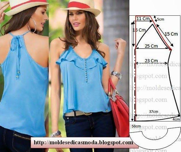 286d3e7fa Plantillas de moda para Medida  BLUSA fácil de hacer - 21