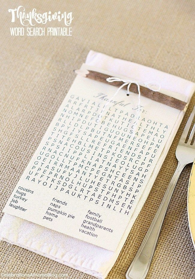 Create a simple Thanksgiving place setting with 5 elements seen here, plus this FREE printable Thanksgiving word search.