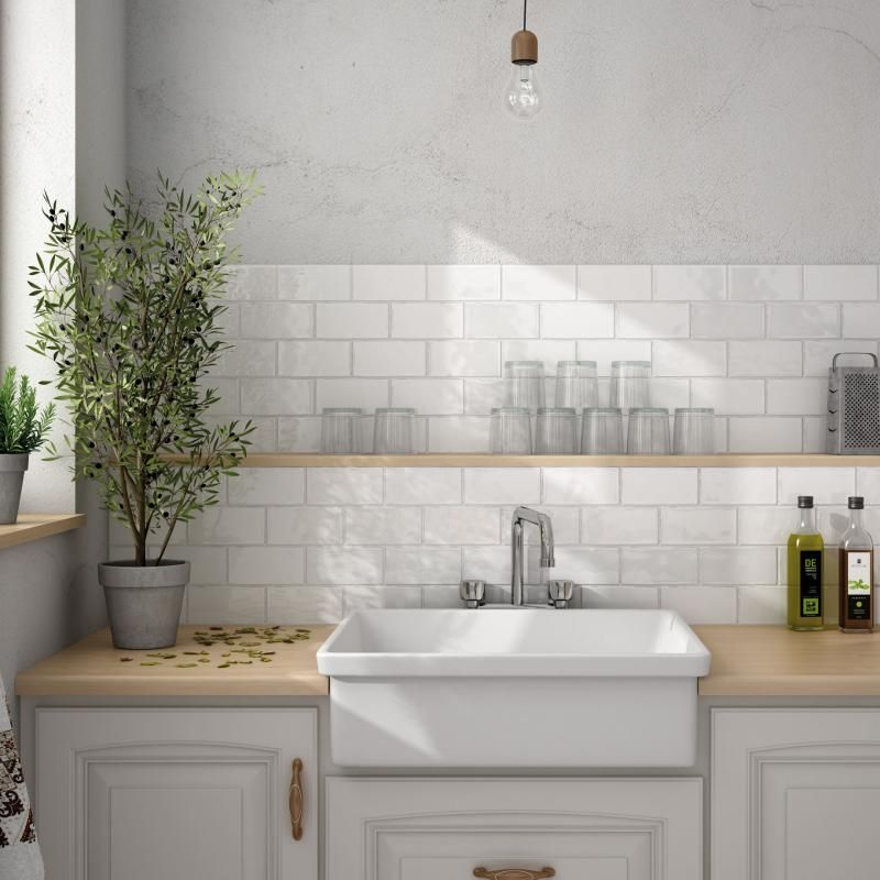 White Kitchen Tiles white brick tiles with grey grout - google search | plants