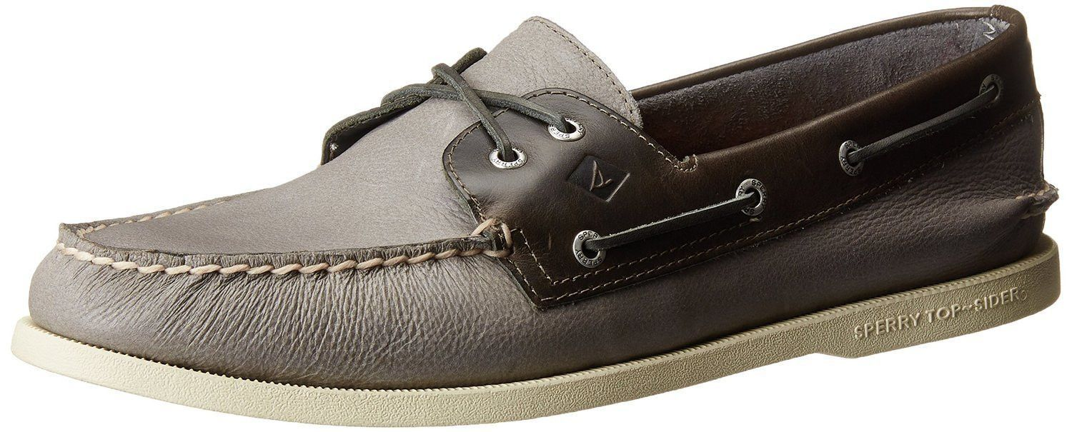 Sperry Top-Sider Men's A/O 2-Eye Cross Lace Boat Shoes Grey