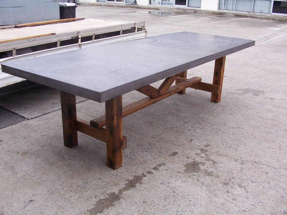 Rustic patio table concrete top stm rectangular miami for Garden patio table