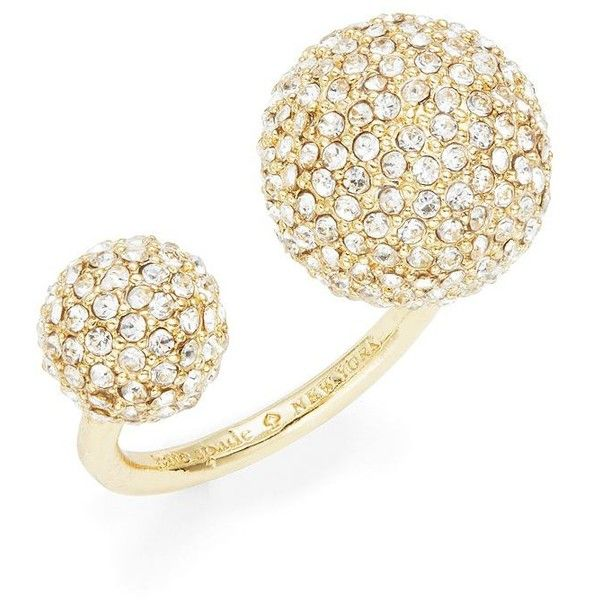 Kate Spade New York Ring It Up Crystal Pave Balls Ring ($78) ❤ liked on Polyvore featuring jewelry, rings, gold, crystal ball ring, cocktail rings, pave jewelry, kate spade jewelry and gold tone rings