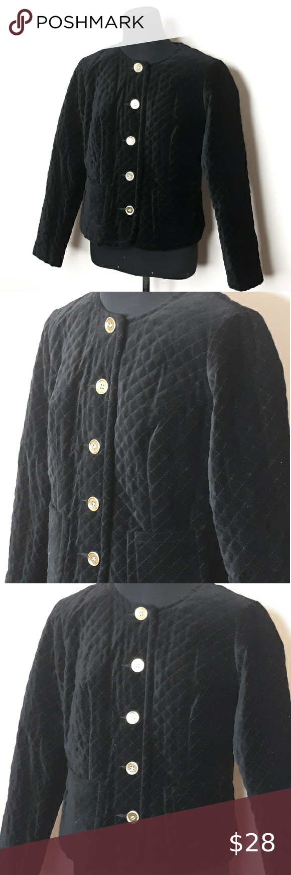 COLDWATER CREEK Black Quilted Velvet Jacke…