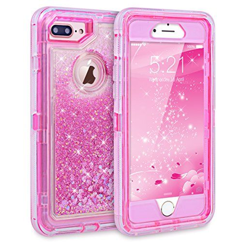 iPhone 7 Case, iPhone Case, Dexnor Glitter Bling Sparkle Flowing Liquid Case  Transparent 3 in 1 Shockproof TPU Silicone Core + PC Frame Case Cover for  ...