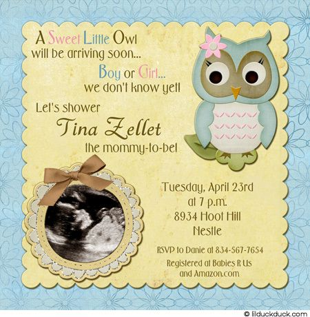 Owl Baby Shower Invitation Soft Surprise Blue Yellow Cute