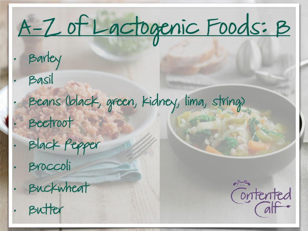 AZ of Lactogenic Foods for Breastfeeding Mums B