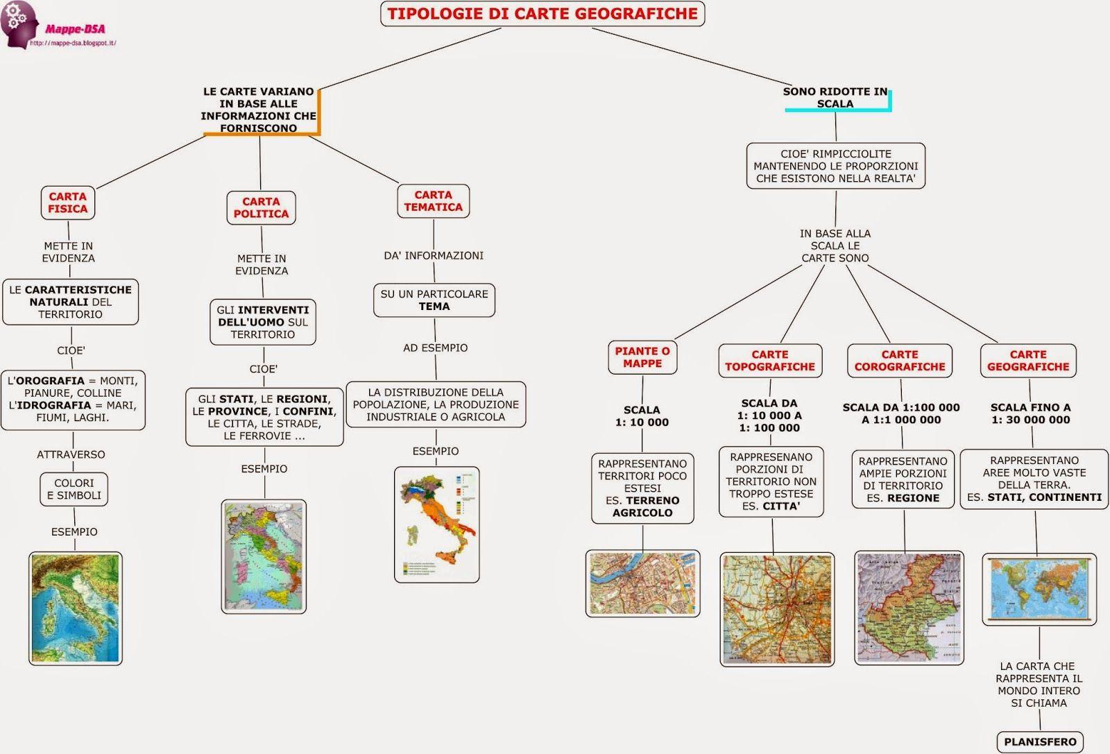 Tipologie Di Carte Geografiche Geografia Geography Map E School
