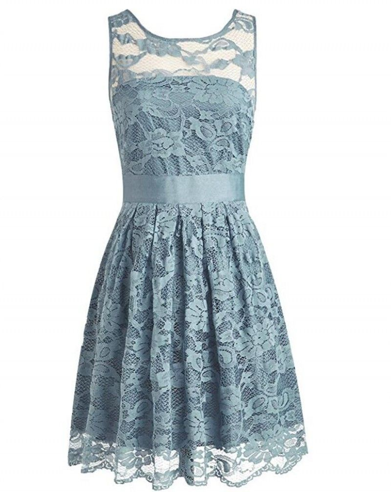 Vestidos Wholesale Blue Grey Lace Bridesmaid Dresses Scoop Neck ...