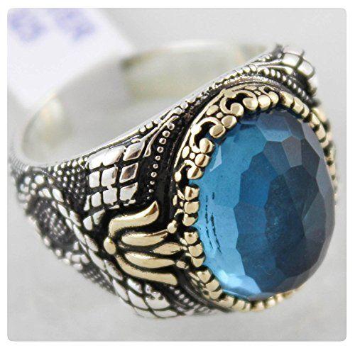 0dd31924b17e7f Luxury 925 Sterling Silver Turkish Handmade Jewelry Ottoman Style CZ  Aquamarine Men's Ring|Amazon.com
