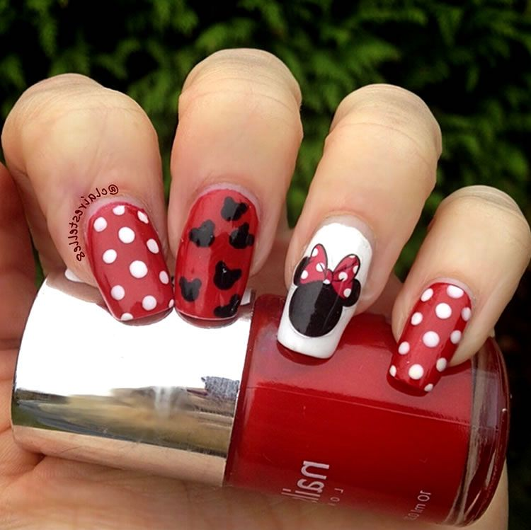 Unhas inspiradas na Minnie Mouse | unhas decoradas | Pinterest ...