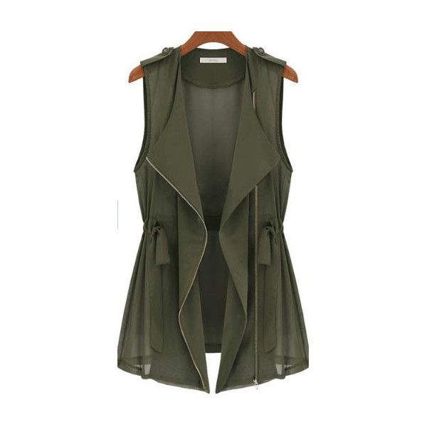 Green Drape Collar Sleeveless Zip Front Drawstring Waitcoat ($29) ❤ liked on Polyvore featuring outerwear, vests, jackets, tops, green, zip vest, green vest, collarless vest, sleeveless waistcoat et zip front vest