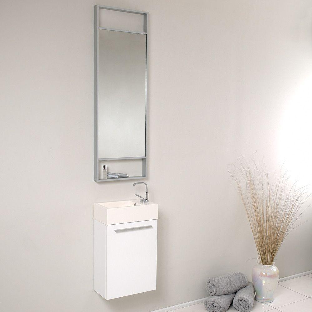 Fresca Pulito Small White Modern Bathroom Vanity w/ Tall Mirror ...