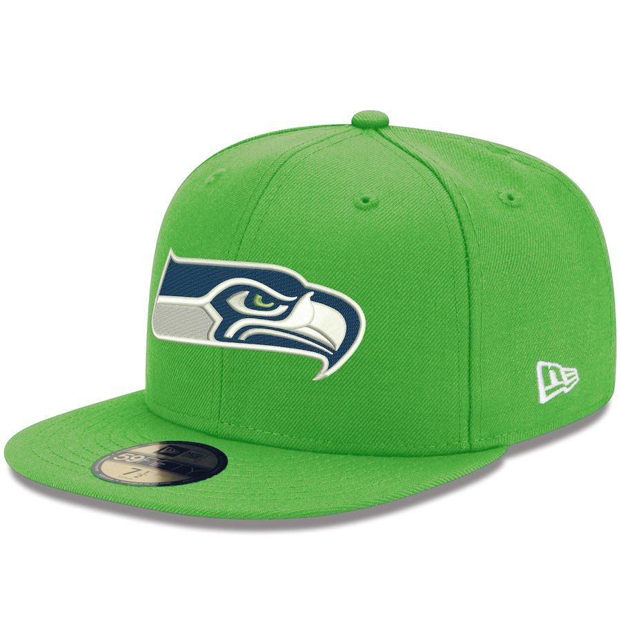 3a6f000ea0a Men s Seattle Seahawks New Era Neon Green NFL Team Basic 59FIFTY Fitted Hat