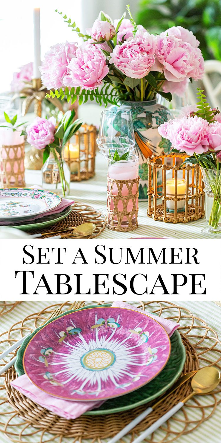 Set A Summer Tablescape Summer Table Decorations Tablescapes Summer Tables