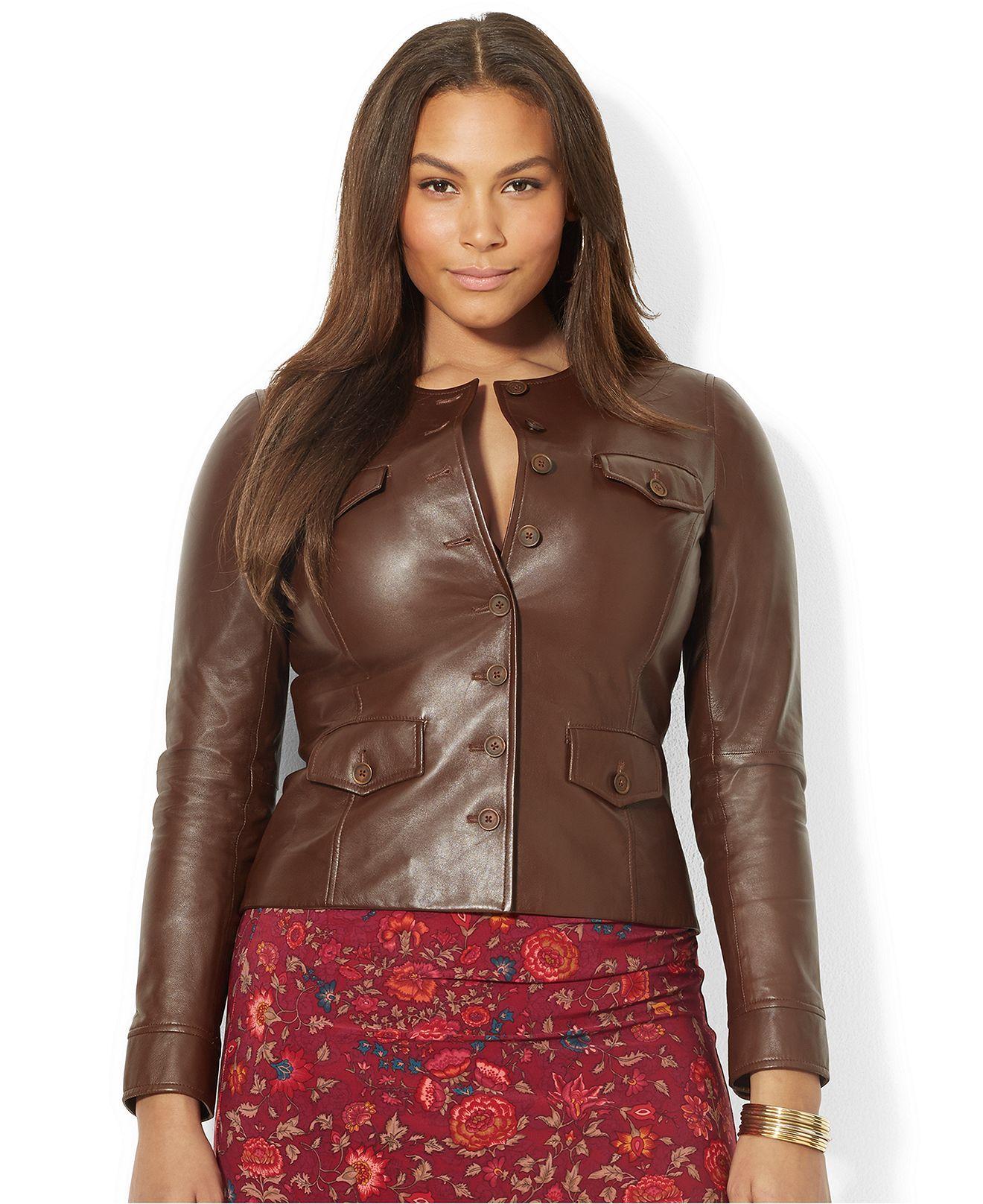 lauren ralph lauren plus size button-front leather jacket