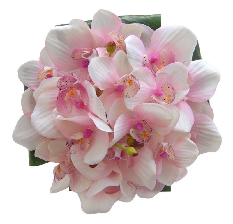 A tropical pink bridesmaids wired bouquet featuring light pink a tropical pink bridesmaids wired bouquet featuring light pink delicate orchids with a couple of buds underneath the bouquet are four large green musa mightylinksfo