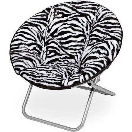 Kids, Children, Toddlers Teens Saucer Moon Chair Bedroom Play Game Room Seating - Zebra / Faux-Fur / None