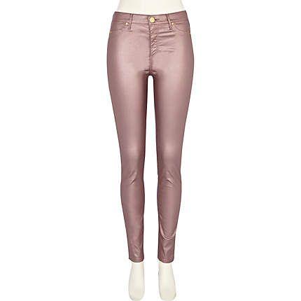 dusty pink metallic molly jeggings - jeggings - jeans - women - River Island