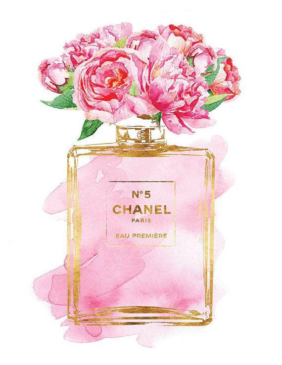 Chanel No5 art 8.5x11 Pink Peony watercolor Gold by hellomrmoon ... 02d4bc6a2c