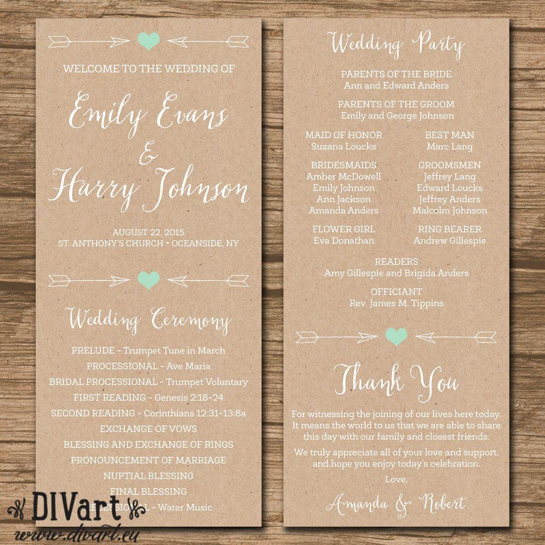 Rustic Wedding Program Ceremony Program PRINTABLE Files By