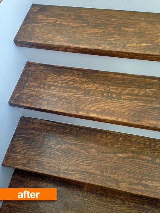 Great After She Pulled Up The Carpet On Her Stairs, Sarah Tried To Cover Her Poor  Quality Stair Treads With Paint, But She Wasnu0027t Satisfied