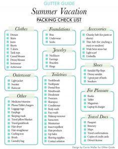 Summer Vacation Packing Checklist  Vacation Packing Checklist