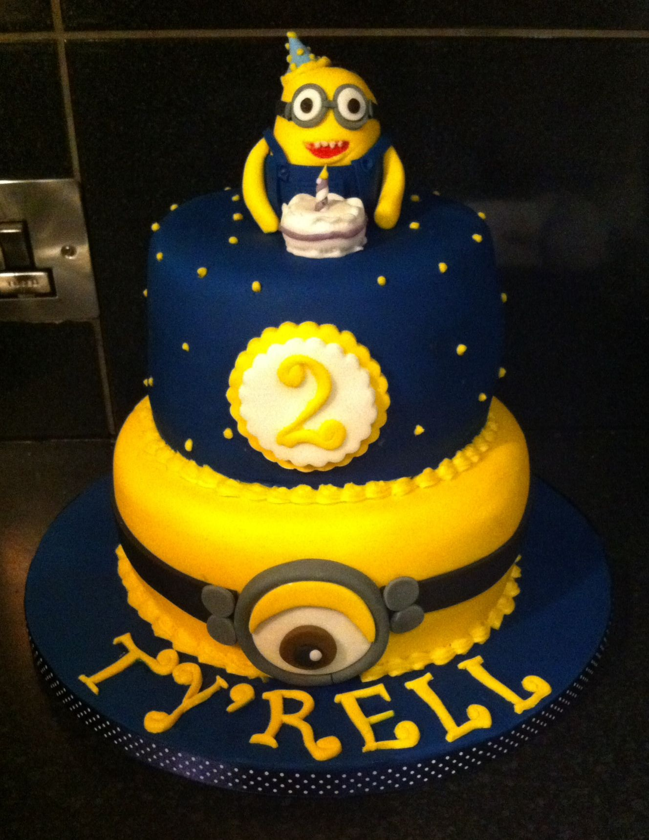 Two tier minion cake for a 2nd birthday cakes by zozo all cakes in this album have been made - Cake decorations minions ...
