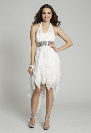 White Dresses - Hankerchief Ruffle Halter Prom Dress from Camille La ...