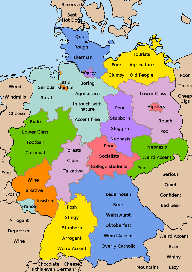 Germany stereotype maps Germany, Map, Deutsch
