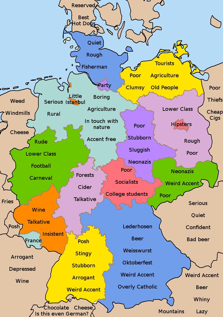 Germany stereotype maps | Germany | Map, Deutsch und German language