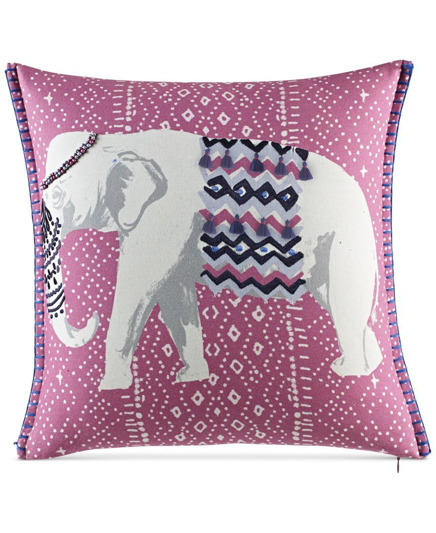 "Macy's Decorative Pillows Glamorous Whimmartha Stewart Eccentric Elephant 18"" Square Decorative Design Decoration"