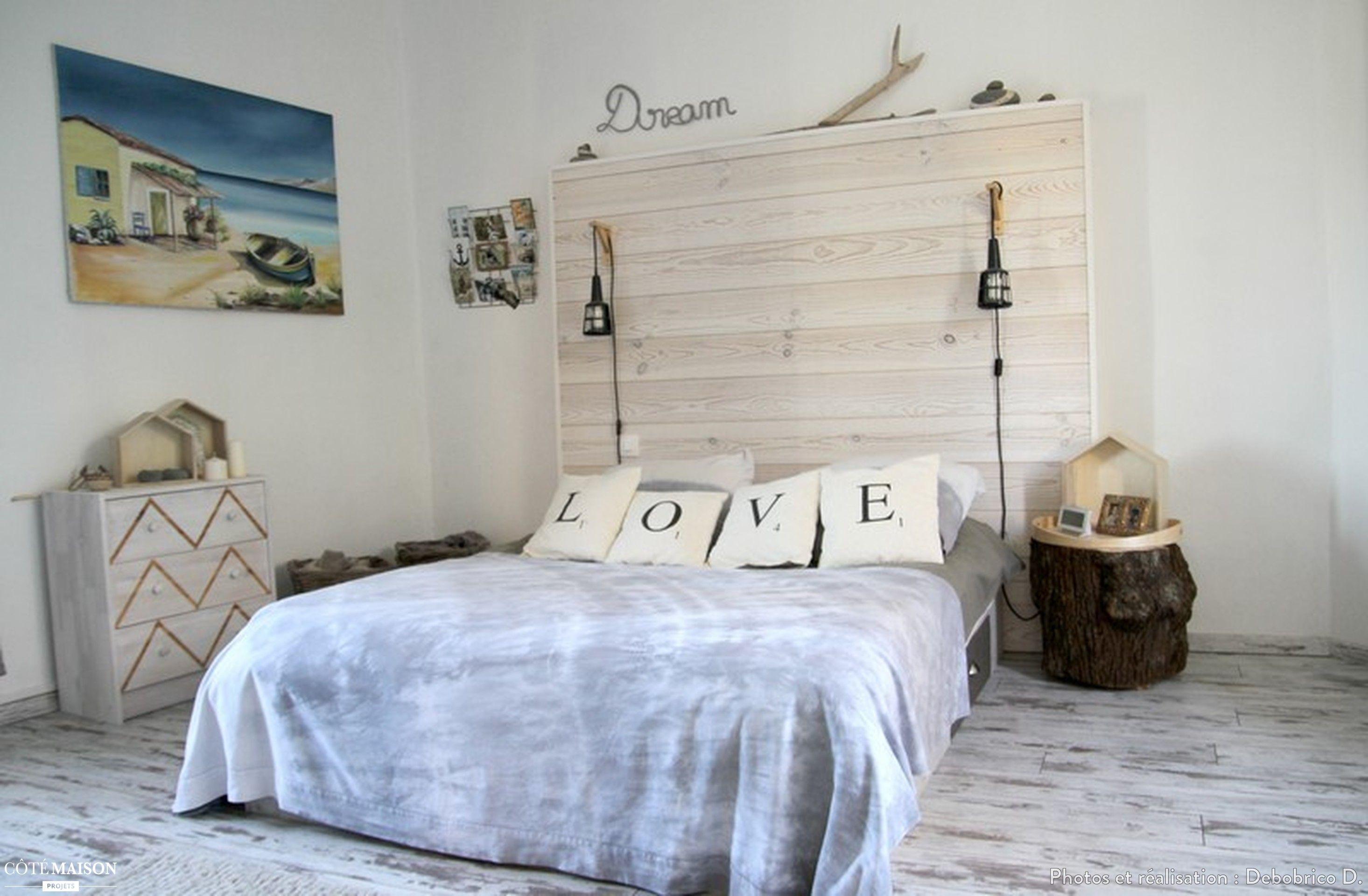 Chambre grise et blanche ambiance nature, cabane de plage  Déco