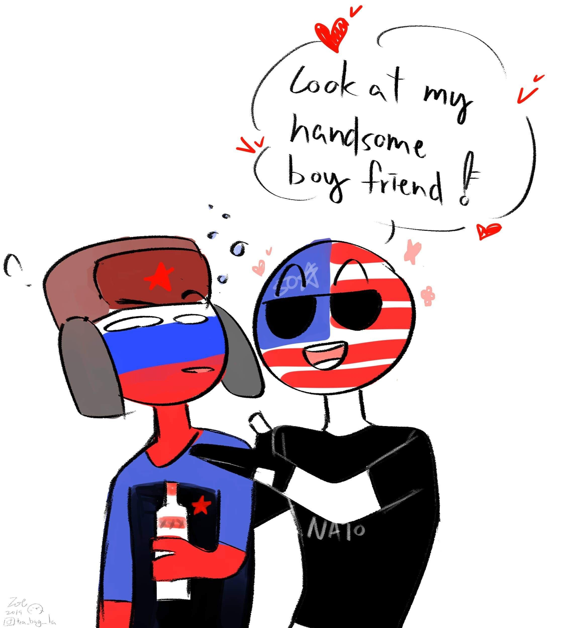 Country humans America x Russia