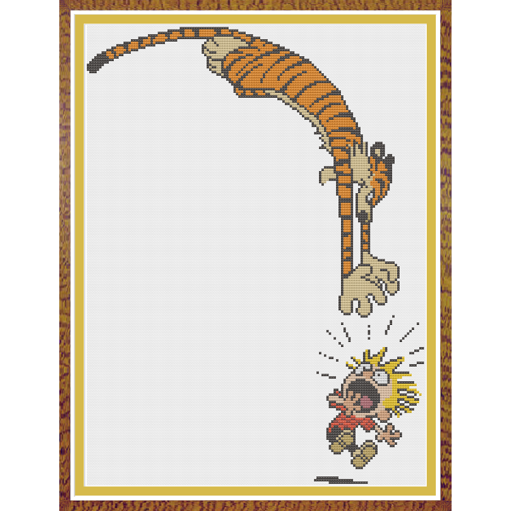 Looking for your next project? You're going to love Calvin and Hobbes - Attack x-stitch by designer Hornswoggle. - via @Craftsy