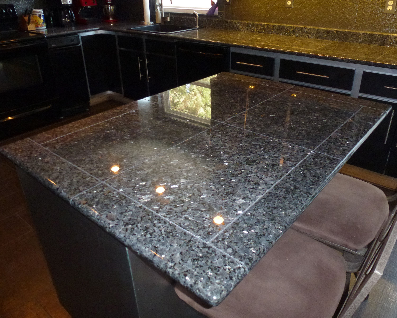 Deep Blue Pearl Granite Tile Kitchen Counters Granite Tile Tile