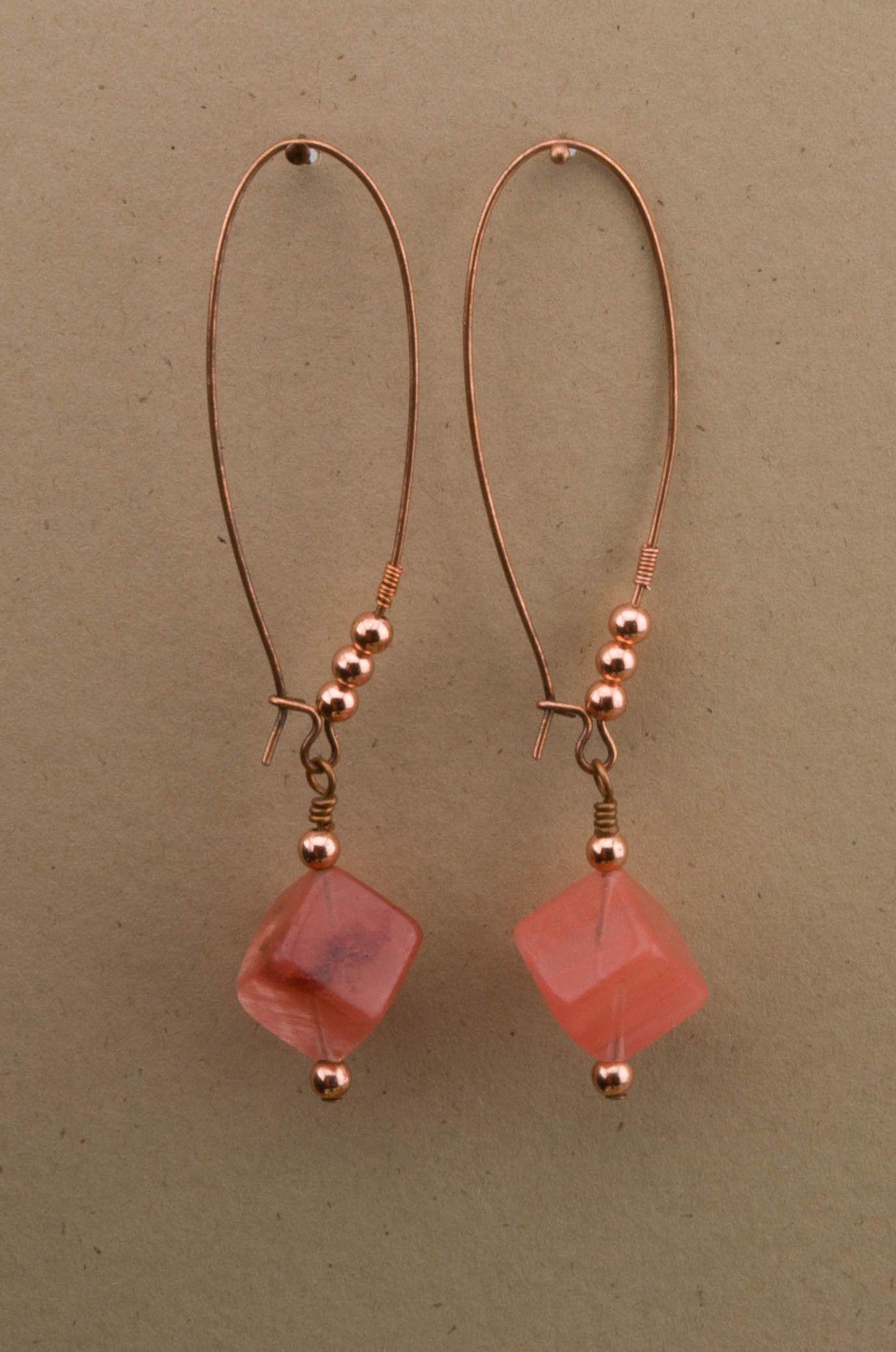 Cherry quartz cube drop earrings beaded jewelry beaded