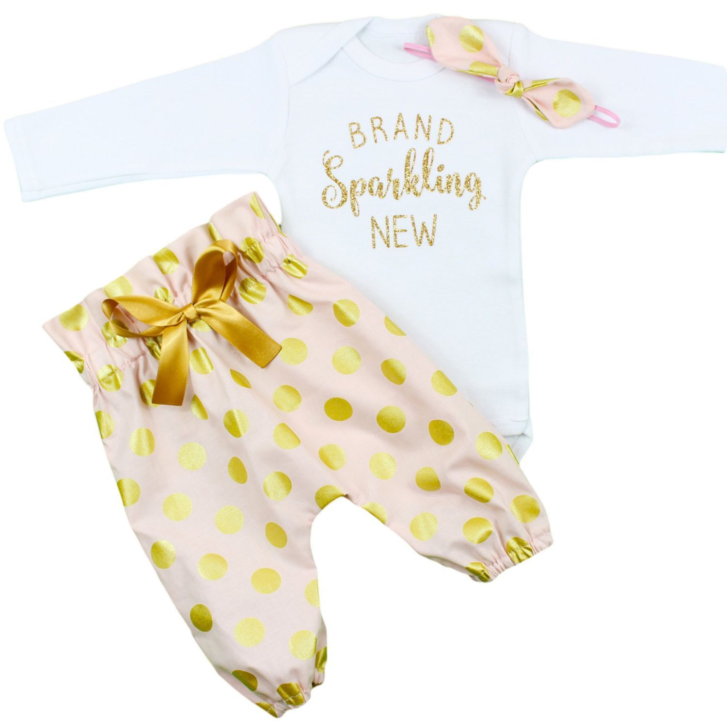 gold glitter baby girl coming new little gown shirt sister pin newborn