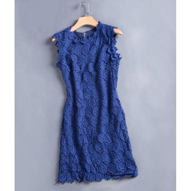 Royal Rosette Crochet Dress