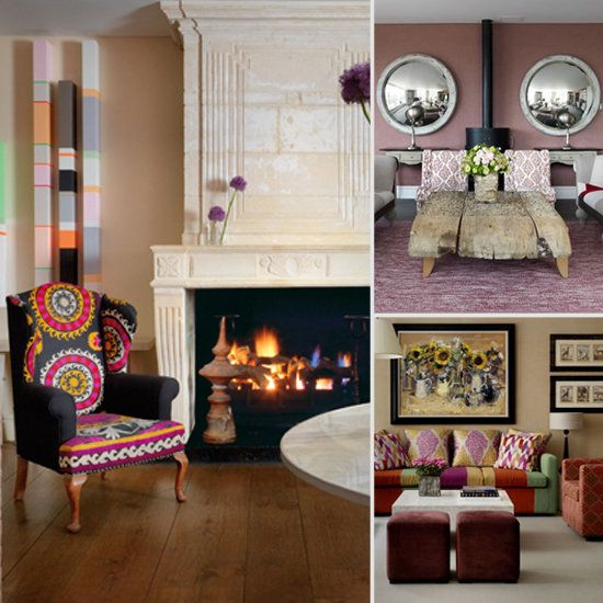 love the traditional chair with eclectic fabric - Eclectic Hotel 2015