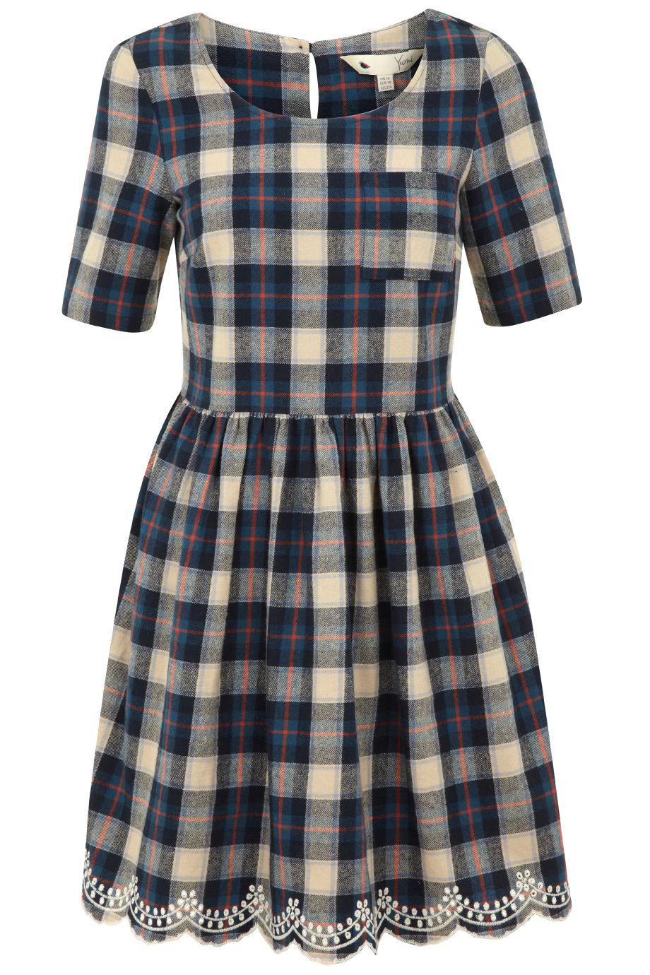 Cheeky in Checks dress by Yumi. Plaid DressNavy DressNavy Blue Skater ...