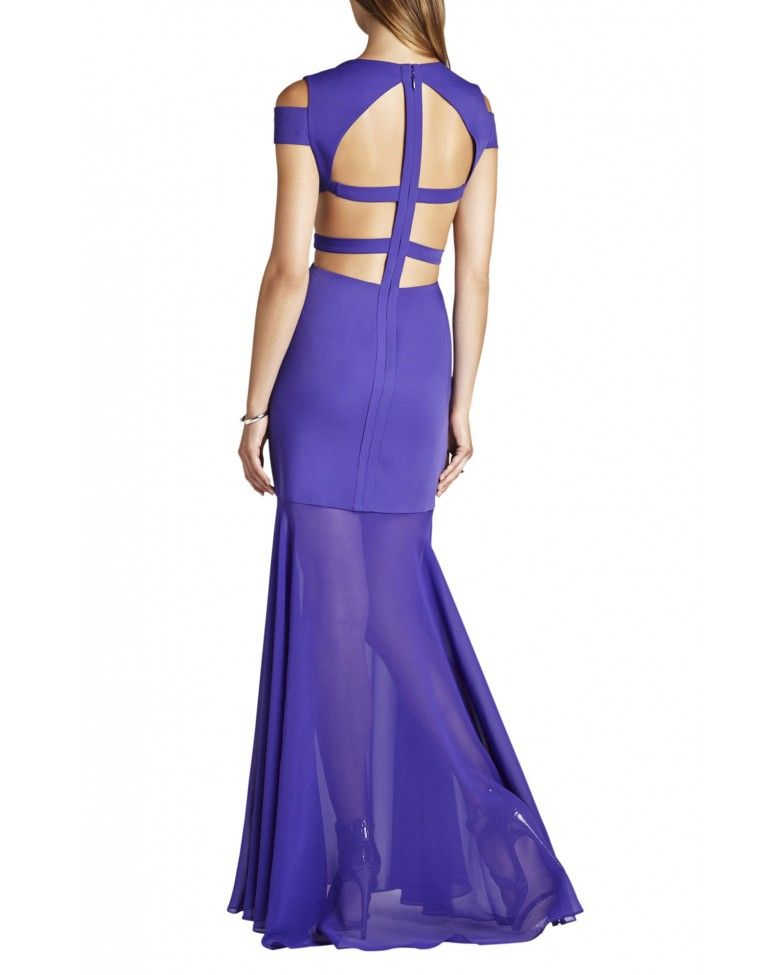 Bcbg Maxazria Purple Ava Cut Out Full Length Formal Dress XVR6W823 ...