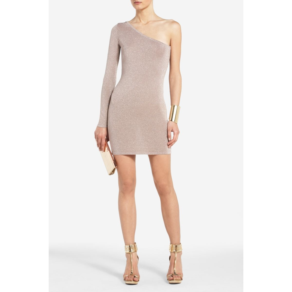 Skin tone one shoulder cocktail dress.  Hot.