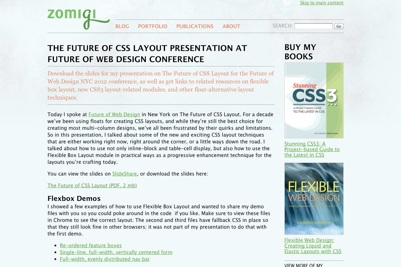 The Future Of Css Layout Presentation At Future Of Web Design Conference Http Zomigi Com Blog Future Css Layout F With Images Conference Design Web Design Presentation