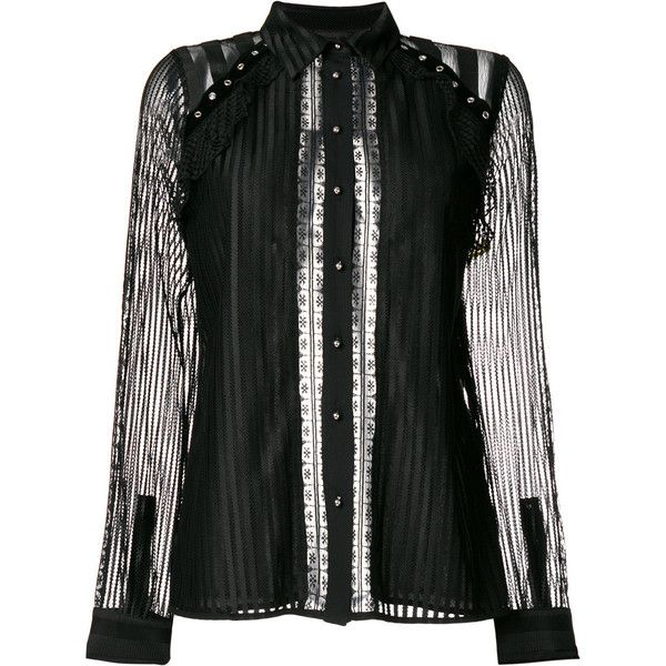 Just Cavalli sheer striped blouse (7.666.505 VND) ❤ liked on Polyvore  featuring