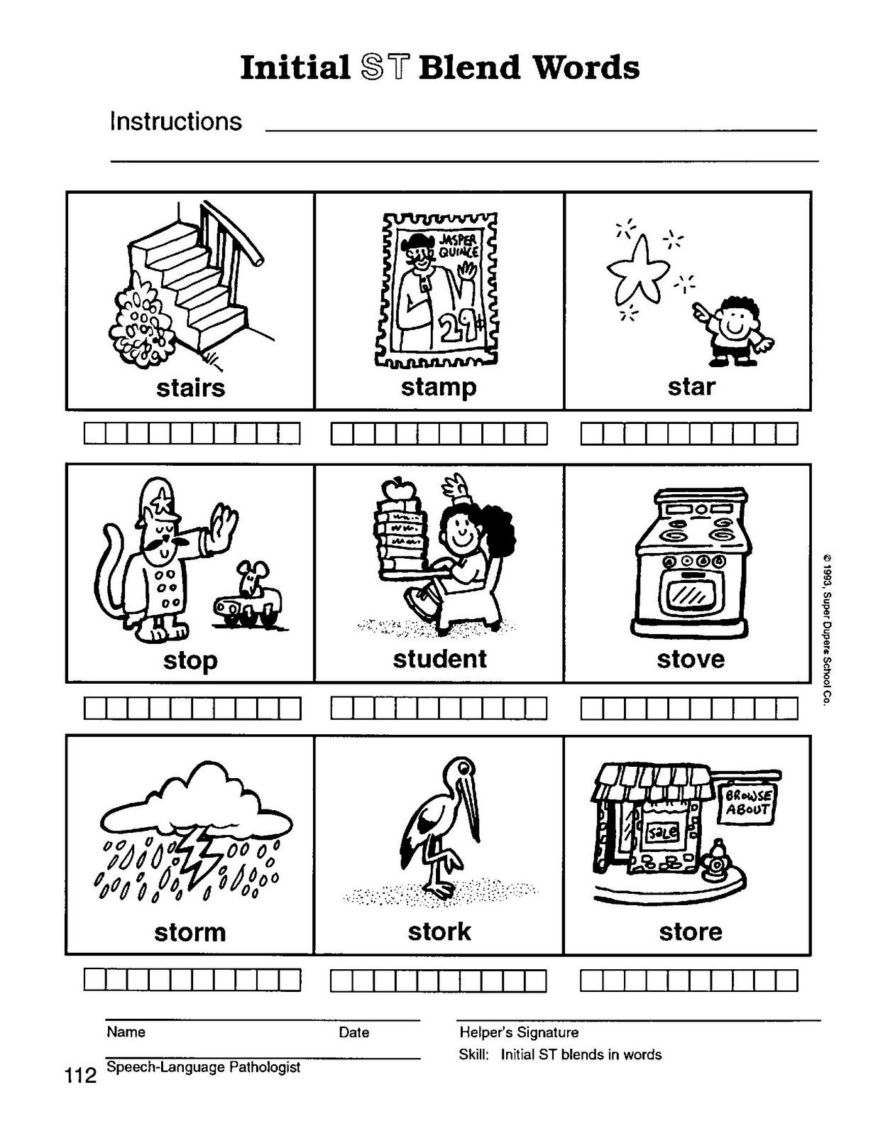 S Blend Worksheets Consonant Blends 2sc1stfree Math