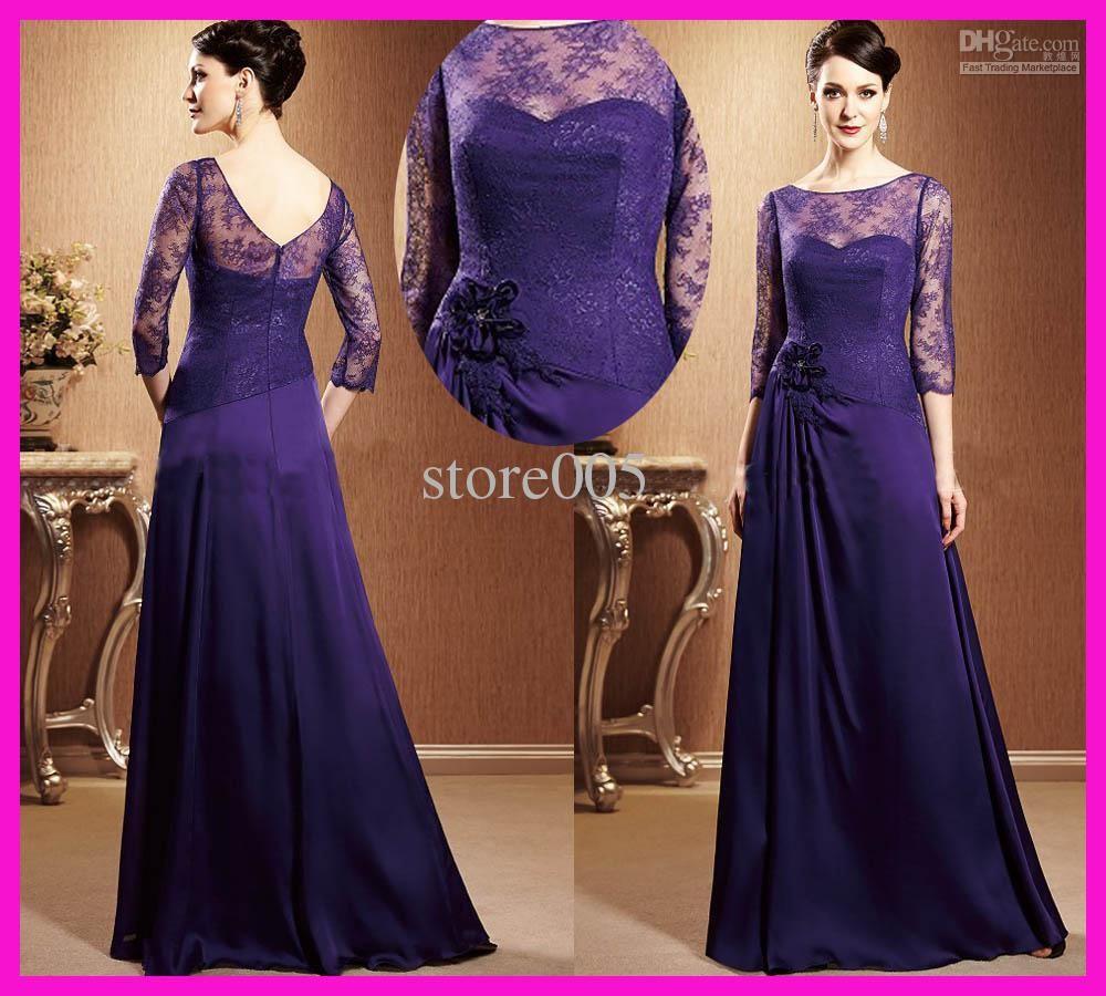 Wholesale Bride Dress - Buy Vintage Purple Lace Long Sleeves Chiffon ...