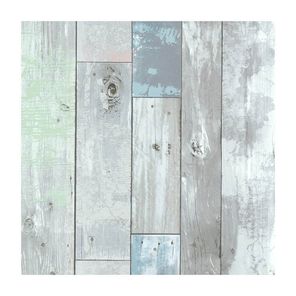 Provincial Wallcoverings 2532 20416 Dean Blue Distressed Wood Panel Wallpaper